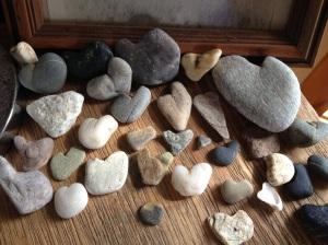 heart shaped rock pile